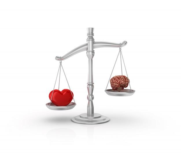 Escala de peso legal com coração e cérebro