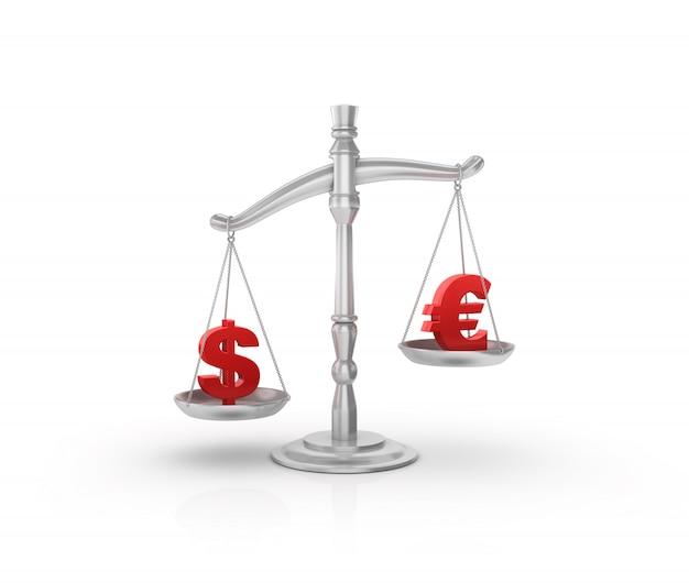 Escala de peso legal com símbolos de dólar e euro