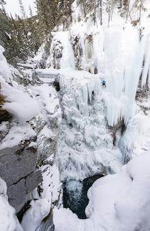 Escalada em cachoeira de gelo (retrato), johnston canyon, parque nacional de banff, alberta, canadá