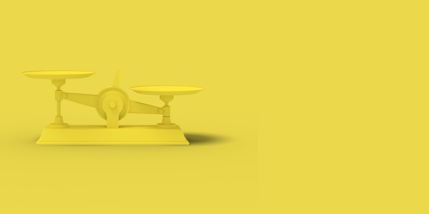 Escalas amarelas sobre fundo amarelo. imagem abstrata. negócio de conceito mínimo. 3d render.