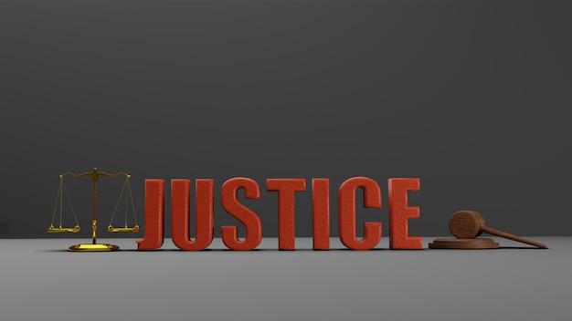 Escalas da justiça escalas da lei e lei do martelo martelo de juiz de madeira hammer and base 3d render with message justice