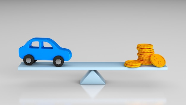 Escalas de equilíbrio e escolha de dinheiro ou carro. renderização 3d.