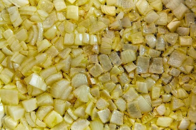 Escalfado cebola closeup textura frito