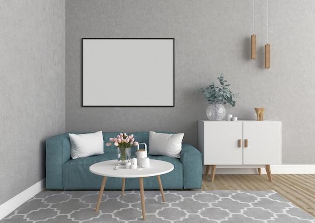 Escandinava sala de estar com moldura horizontal, fundo de obras de arte, maquete interior