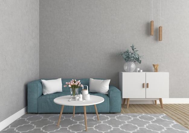 Escandinava sala de estar com parede em branco, fundo de obras de arte, maquete interior