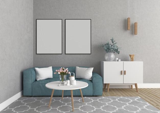 Escandinava sala de estar com quadros vazios verticais,
