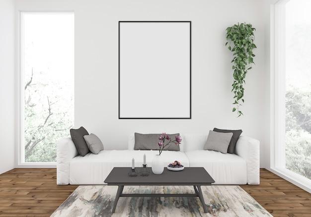 Escandinava sala de estar com um sofá branco, maquete de quadro vertical, exibição de obras de arte