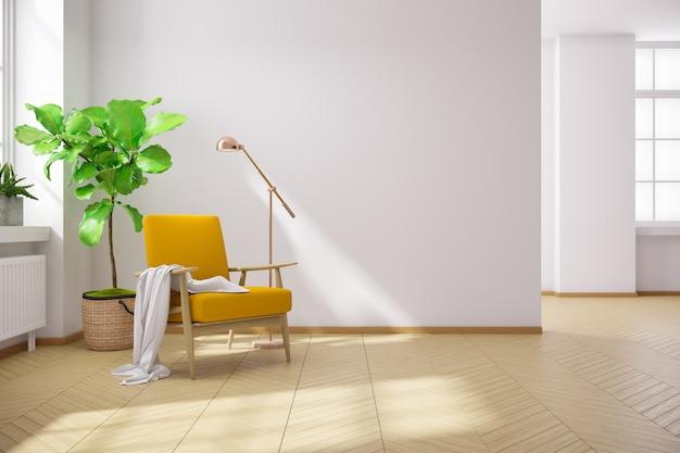 Escandinávia e vintage interior da sala de estar, poltronas de madeira com pisos de madeira e paredes brancas, renderização em 3d