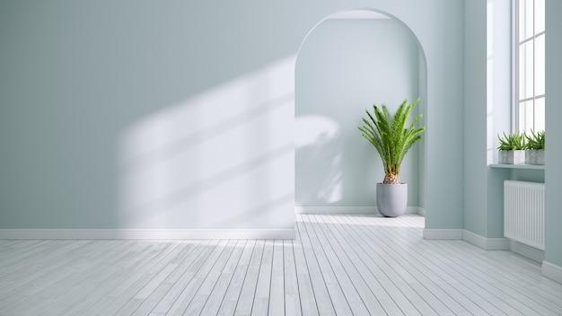 Escandinávia e vintage sala design de interiores, sala vazia, paredes azuis verdes suaves nos pisos brancos, renderização em 3d