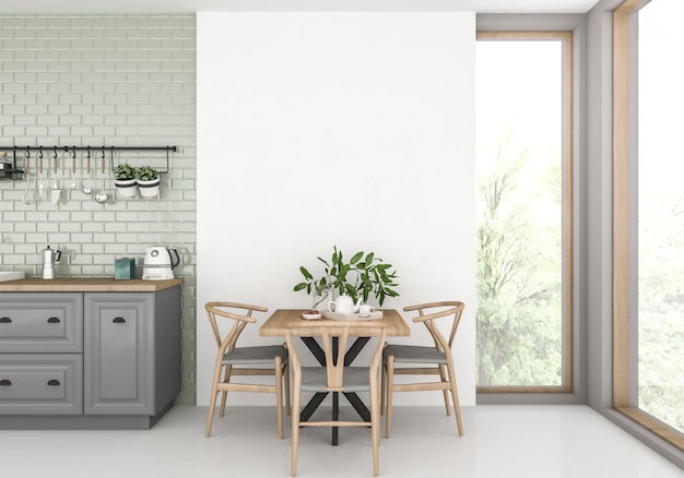 Escandinavo com parede em branco
