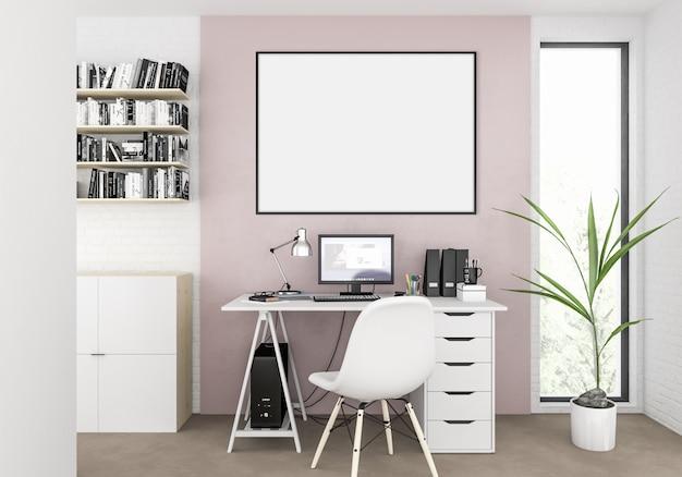 Escandinavo interior com moldura de foto em branco horizontal vazio ou quadro de obras de arte