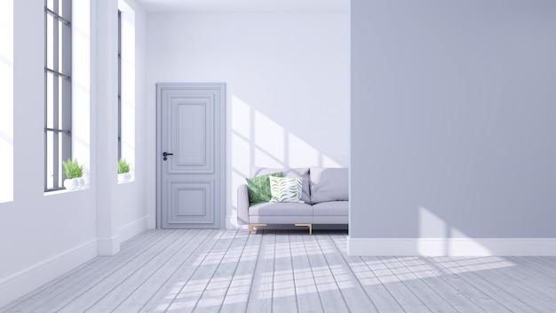Escandinavo moderno do conceito interior de sala de estar