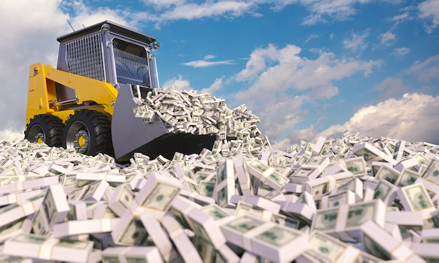 Escavadora amarela abrindo caminho entre pilhas de dólares. renderização 3d. conceito de riqueza