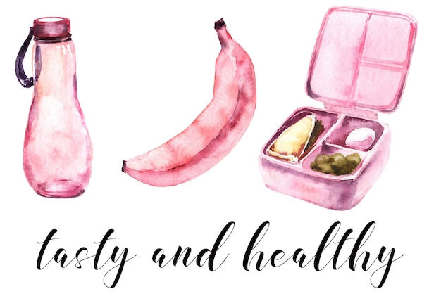 Escola meninas rosa suprimentos aquarela conjunto. refeição escolar