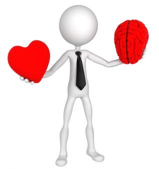 Escolha difícil. empresário equilíbrio coração e mente