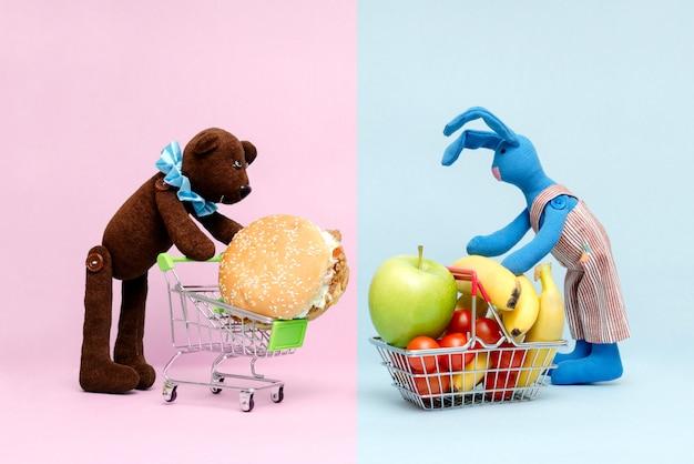 Escolha entre comida boa e ruim