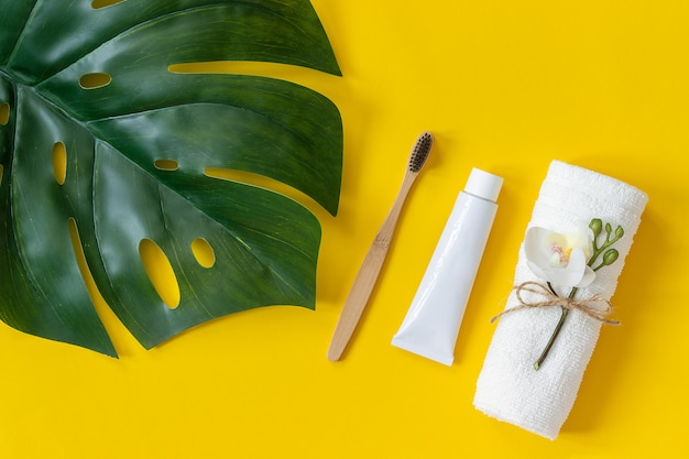 Escova de bambu natural eco-friendly, toalha, tubo de creme dental e tropical eaf monstera.