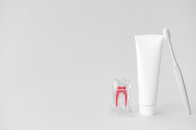 Escova de dente e pasta na luz