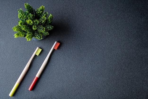 Escova de dentes de bambu. escova de dentes ecológica