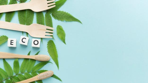 Escova de dentes e garfos ecológicos