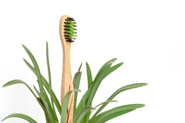 Escova de dentes ecológica de bambu com folhas em fundo branco