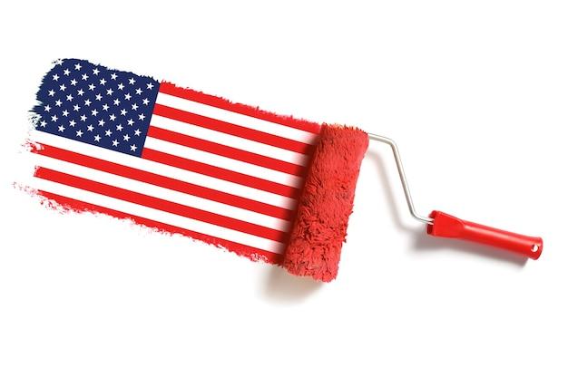 Escova de rolo com bandeira dos eua