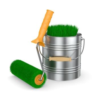 Escova de rolo e grama em lata. isolado, renderização 3d