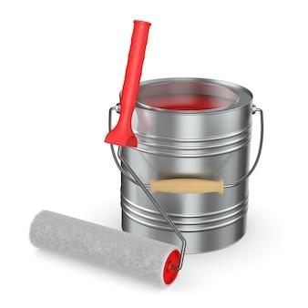 Escova de rolo e lata com cor no espaço em branco. ilustração 3d isolada
