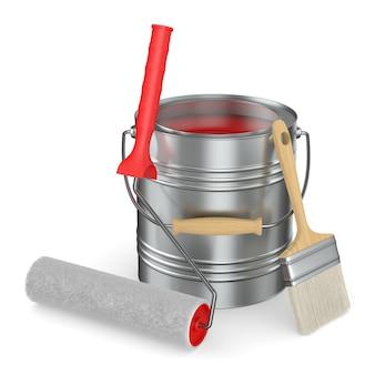 Escova de rolo e lata com cor no espaço em branco