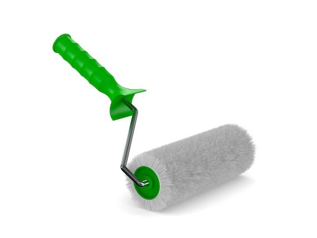 Escova de rolo na superfície branca isolada