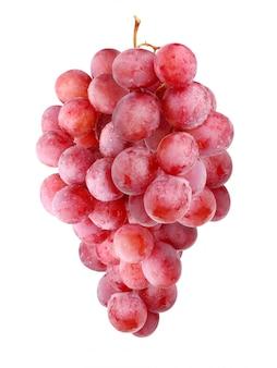 Escova de uvas vermelhas, isolada no fundo branco.