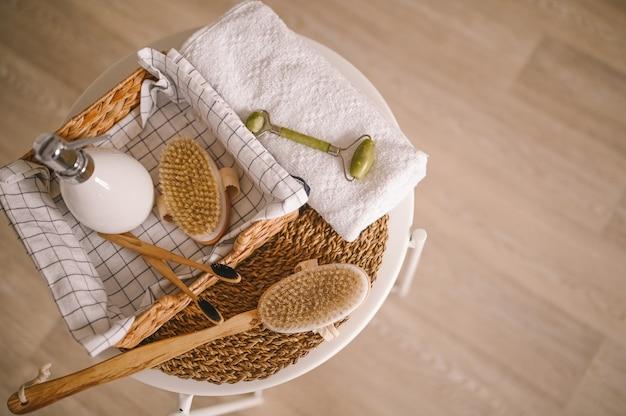 Escovas corporais naturais de sisal massagem seca rolo facial de quartzo, escovas de dente de bambu preto