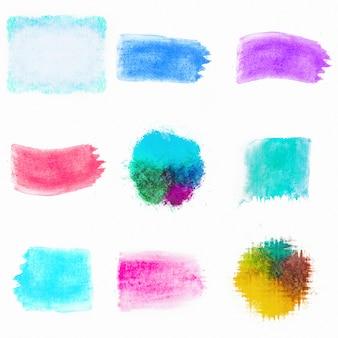 Escovas de composição aquarela colorida