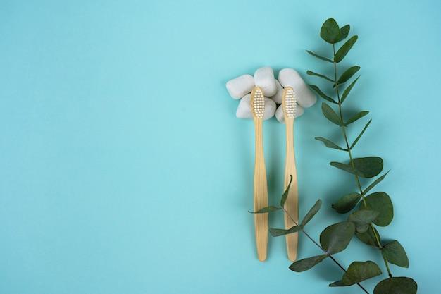 Escovas de dente de bambu com um raminho de eucalipto e pedras brancas em um fundo de hortelã.