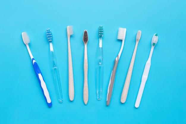 Escovas de dente. vista do topo