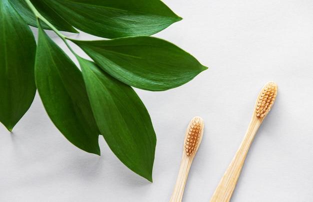 Escovas de dentes de bambu natural