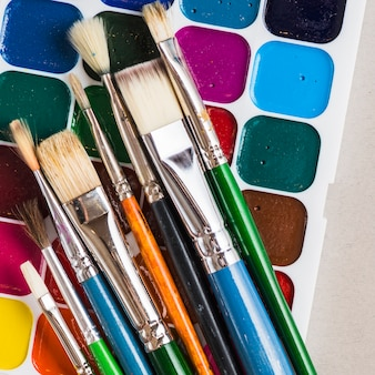 Escovas, ligado, caixa aquarela