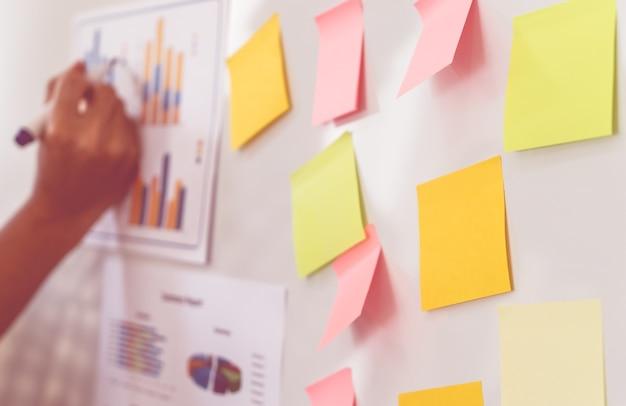 Escrevendo no relatório de negócios sobre a reunião de quadro branco