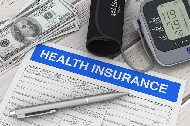 Escrever caneta com formulário de seguro de saúde perto de monitor digital de pressão arterial e dinheiro com cuffextreme closeup. renderização 3d