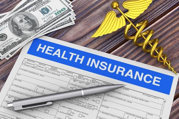 Escrever caneta com formulário de seguro de saúde perto de ouro médico caduceu símbolo e dinheiro closeup extrema. renderização 3d
