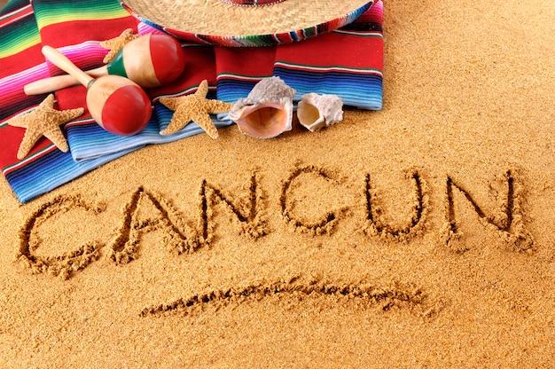 Escrita da praia de cancun