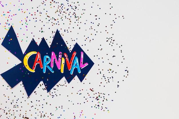 Escrita de carnaval com recorte e glitter
