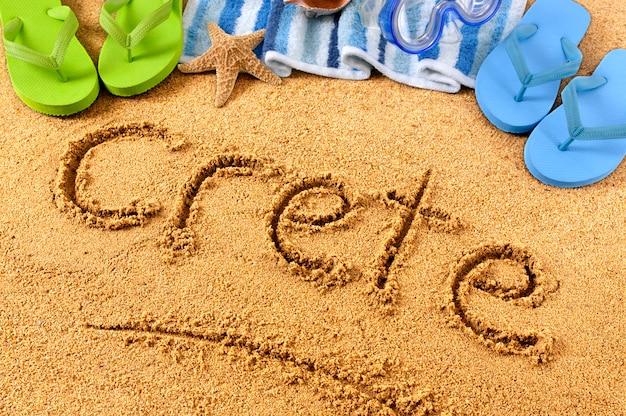 Escrita na praia de creta