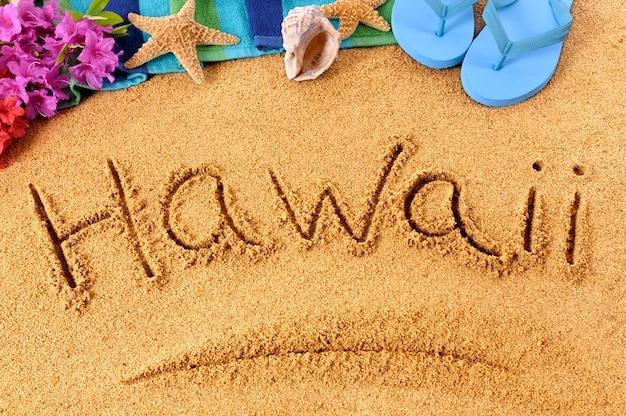 Escrita praia do havaí