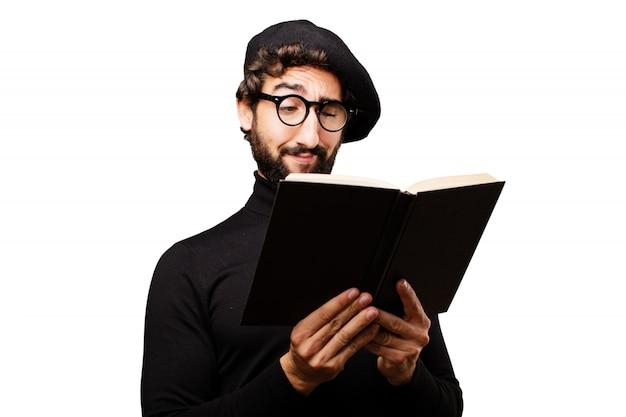 Escritor escuro cara biblioteca orgulhoso