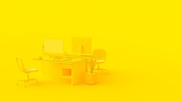 Escritório amarelo.