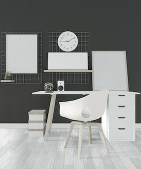 Escritório confortável e decoração no quarto preto piso branco de madeira. renderização em 3d