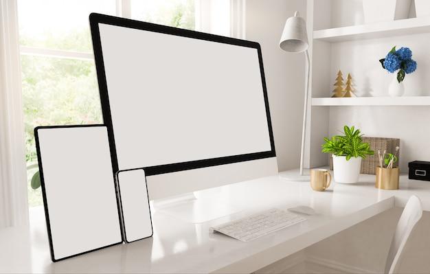 Escritório doméstico de dispositivos responsivos