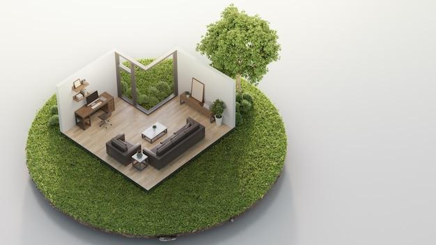 Escritório domiciliário e sala de visitas perto da árvore grande na terra minúscula da terra com grama verde na venda dos bens imobiliários ou no conceito do investimento imobiliário.