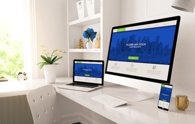 Escritório em casa configurado com design responsivo na renderização 3d da tela